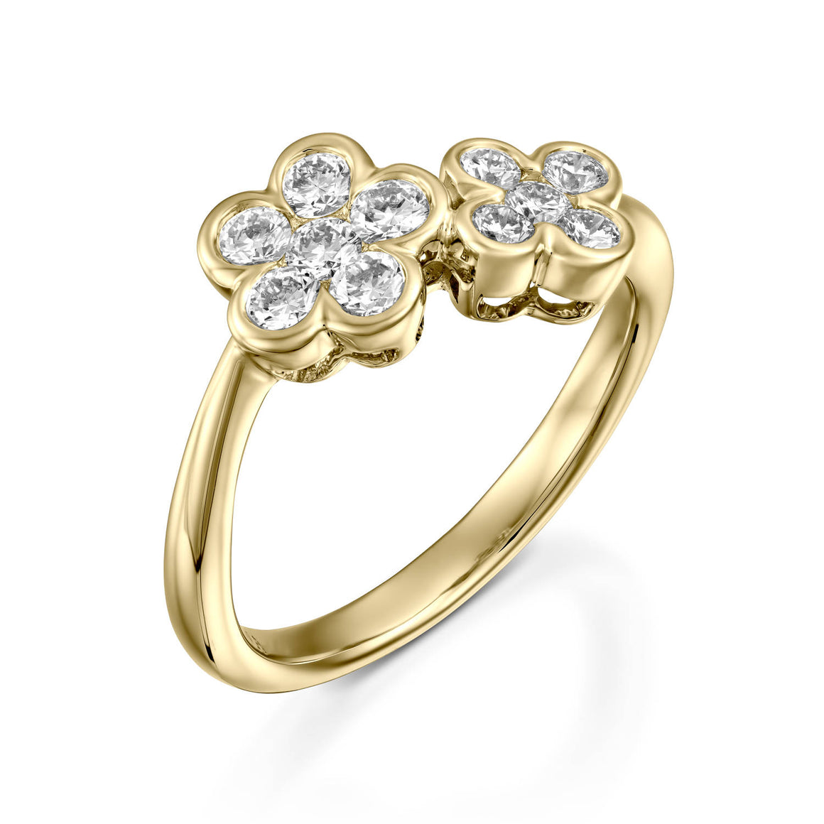 0.54  Carat Yellow gold diamond double flower ring