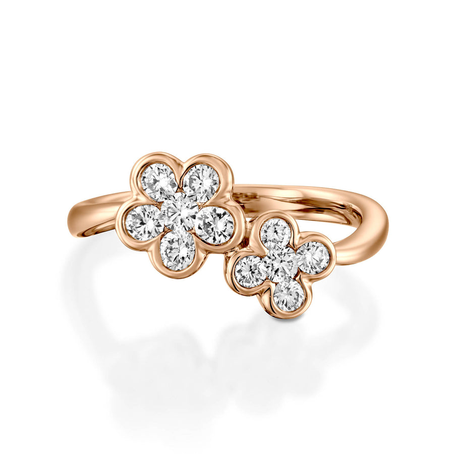 18k diamond flower ring, Diamond flower ring, Rose gold ring, Diamond wedding band, Engagement ring, Natural diamonds, Classic design ring