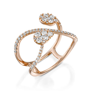 Pave Tear shaped diamond ring 18k Infinity shape ring