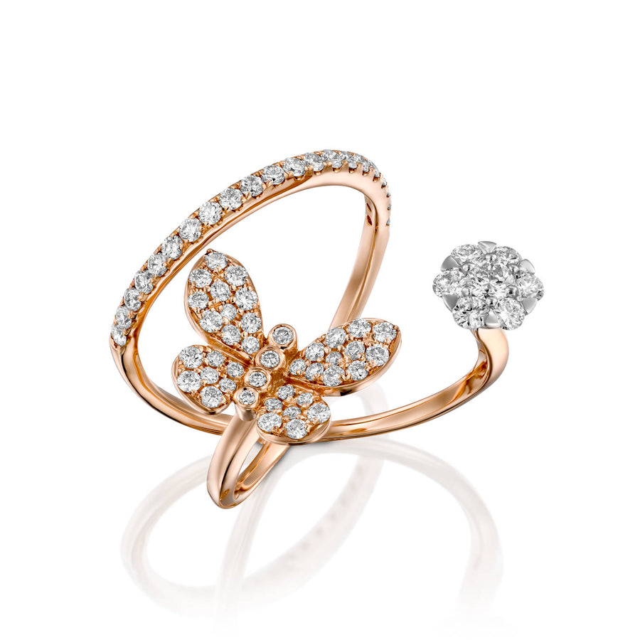 18k gold Butterfly diamond double ring