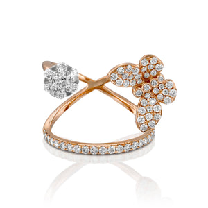 18k gold Butterfly diamond double ring 0.97 Carat