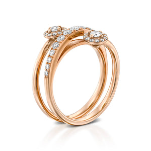 RTU0100-18K Rose Gold diamond Spiral infinity Ring