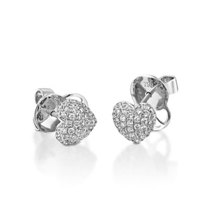 White gold 0.61 ct Natural  Diamond Heart Stud Earrings