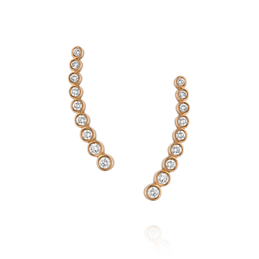 ENH813 Diamond Ear Climber Earrings in18k Rose Gold