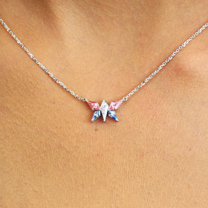 Pink and Blue Sapphire diamond butterfly necklace