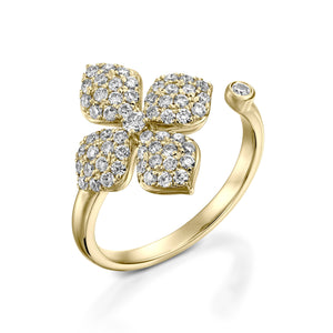 RNT12765-0.62 Carat open Flower engagement rings for women
