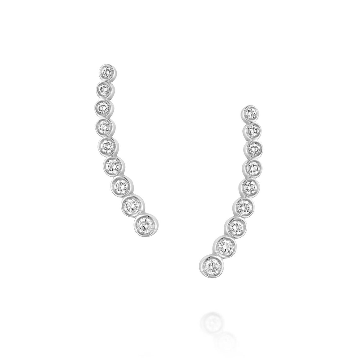 ENH813 Diamond Ear Climber Earrings in 18k White Gold
