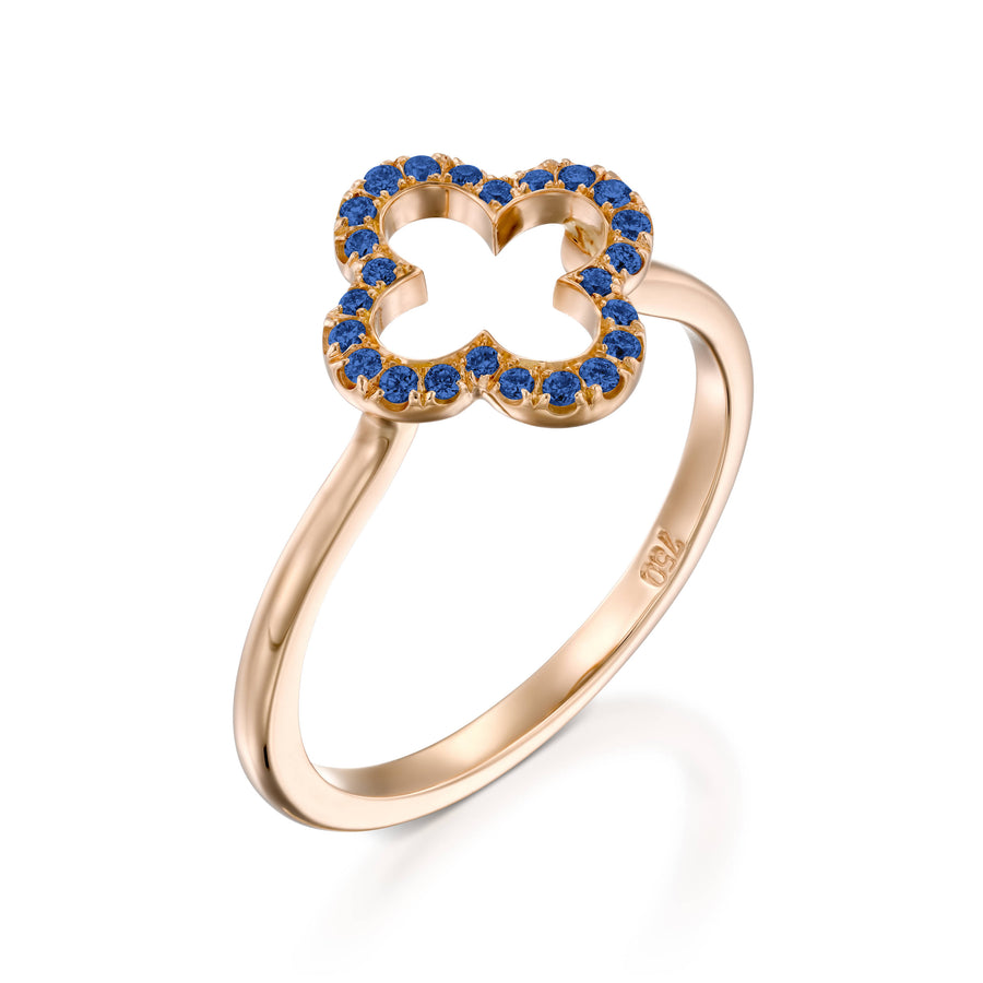 RVC401SA-0.2 Carat gold clover lucky love ring blue sapphire