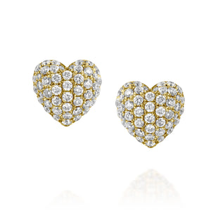 0.61 carat Natural Diamond Puffy Pillow Heart Stud Earrings Yellow gold