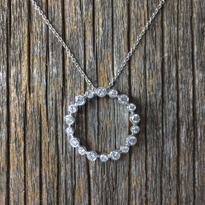 0.56 Carat Round Diamond Circle eternity Pendant 0.8""
