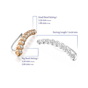 ENH813-0.62 Carat Diamond Ear Climber Earrings in18k Rose Gold