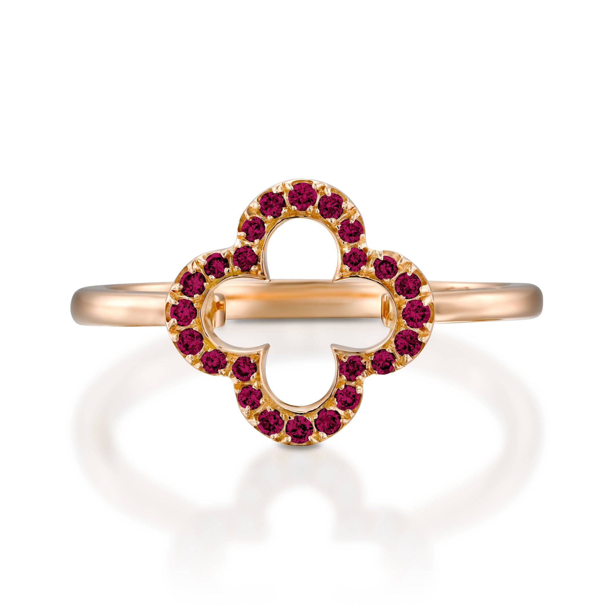 18k Rose Gold Lucky Love Ring, Flower Red ruby engagement ring ...