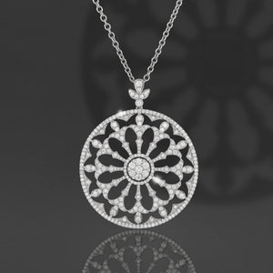 PNF267-Large diamond pendant - 3.15 Carat Pave Fancy floral Diamond Pendant