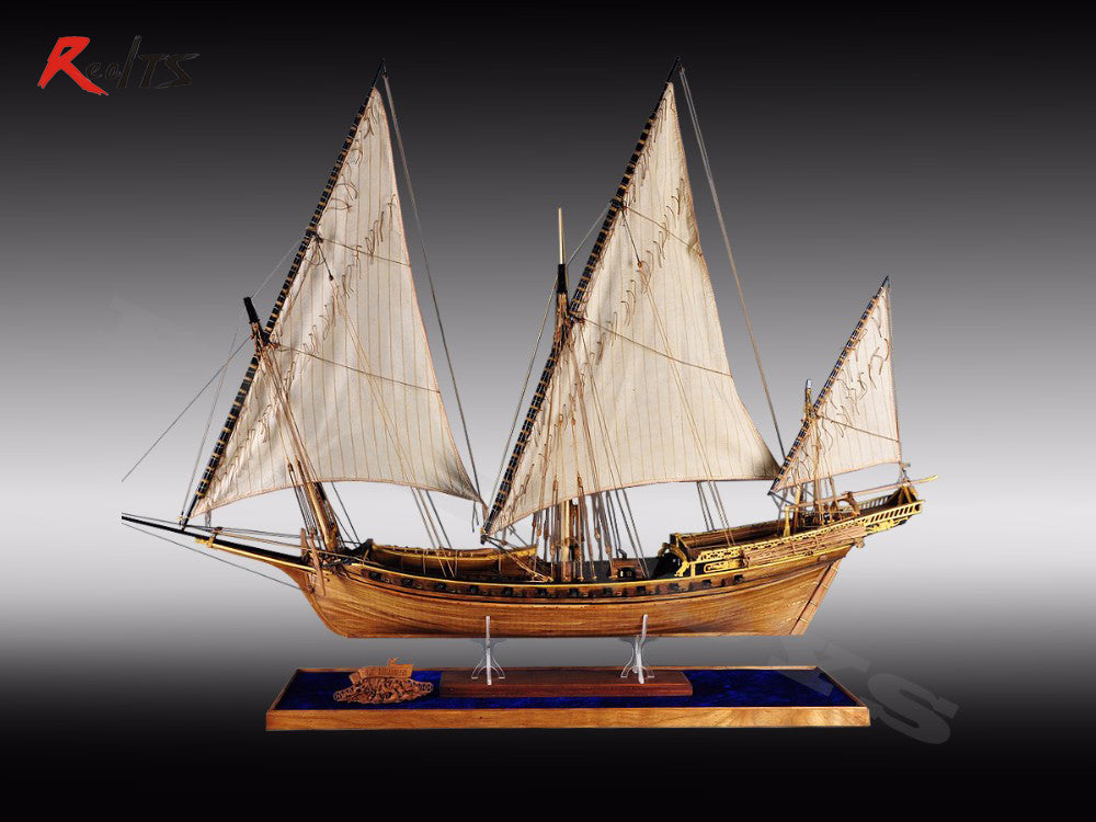 Classic wooden sailing boat 1/48