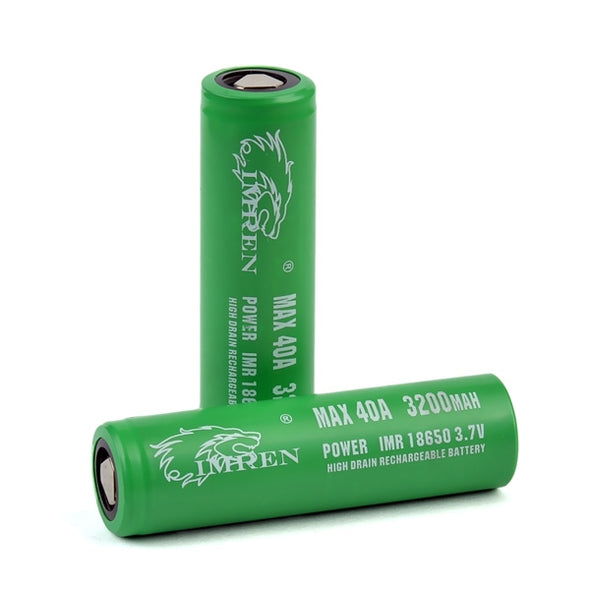 IMREN (GREEN) IMR 18650 (3200MAH) 40A 3.7V BATTERY FLAT-TOP - The King of Vape