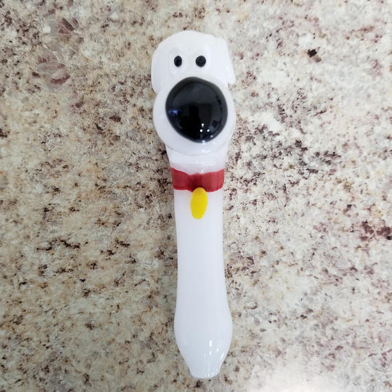 Hand Blown Glass Pipe - Family Dog Character - The King of Vape