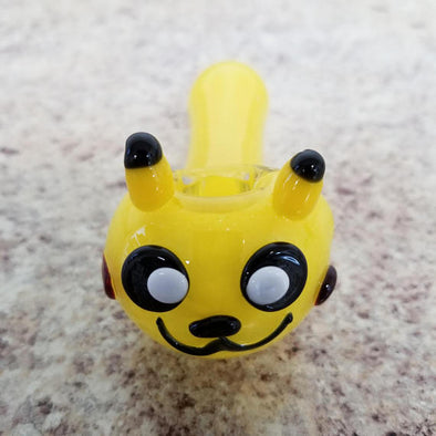 Hand Blown Glass Pipe - Yellow Anime Character - The King of Vape