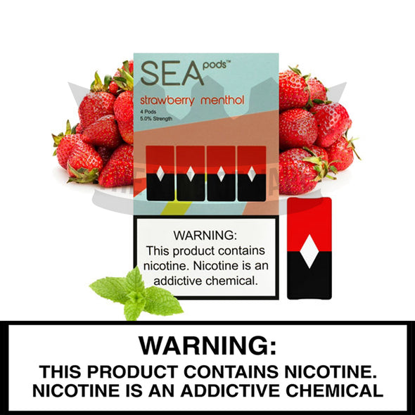 Sea 100 - Strawberry Menthol - Juul Compatible Pods (4 PACK) - The King of Vape