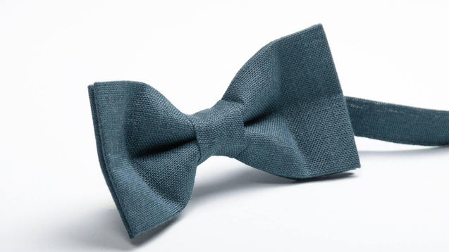 Gray blue color linen bow tie, wedding necktie, linen necktie, groomsmen necktie, gray necktie, Gray silver bow tie for men - MenLau