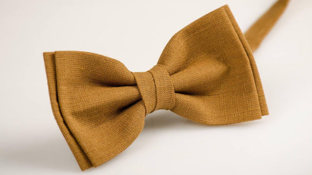 Camel  Bow Tie, Baby Bow Tie, Camel  Bowtie, Bow Ties For Men, Toddler Bow Tie, Groomsmen Bow Tie, Camel  Linen Bow Tie, Boys Bow Ties - MenLau