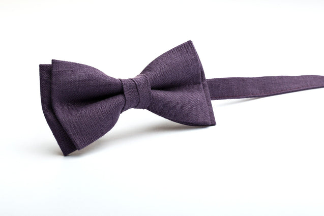 Dark Purple bow tie, EggPlant tie, kids ties, bows and ties, wedding bow ties, pre tied bow ties, groomsmen gifts, gift for groomsmen - MenLau