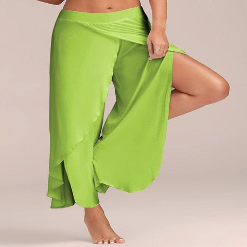Flowy Layered Slit Palazzo Pants (Light Green) - Waiting For Sunrise