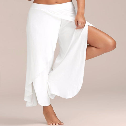 Flowy Layered Slit Palazzo Pants (White) - Waiting For Sunrise