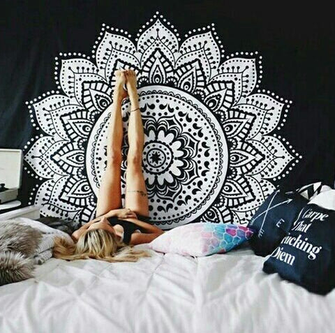 Lotus Printed Tapestry For Yoga & Bohemian Lifestyle - Waiting For Sunrise
