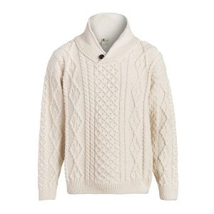 BOYNE VALLEY MEN'S ONE BUTTON SHAWL WOOL COLLAR CABLE SWEATER