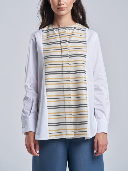 White Cotton Shirt with Stripes & Hidden Buttons