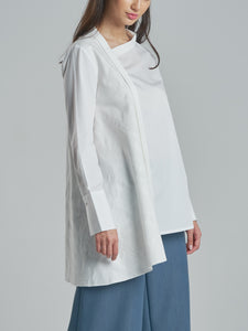 Asymmetric Structured Shirt with Embroidered Side