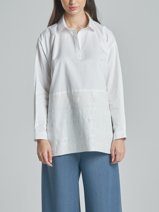 Classic Shirt with an Embroidered Bottom