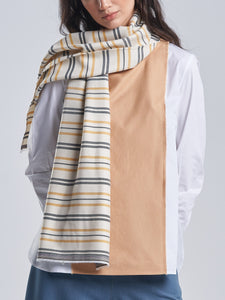 Striped Scarf in Tuscan Yellow and Grey Black