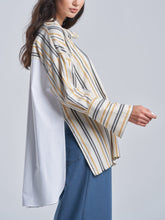 Oversized Striped Top with Crisp Pleated Back