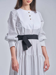 Striped White & Black Tiered Dress with Gold Buttons