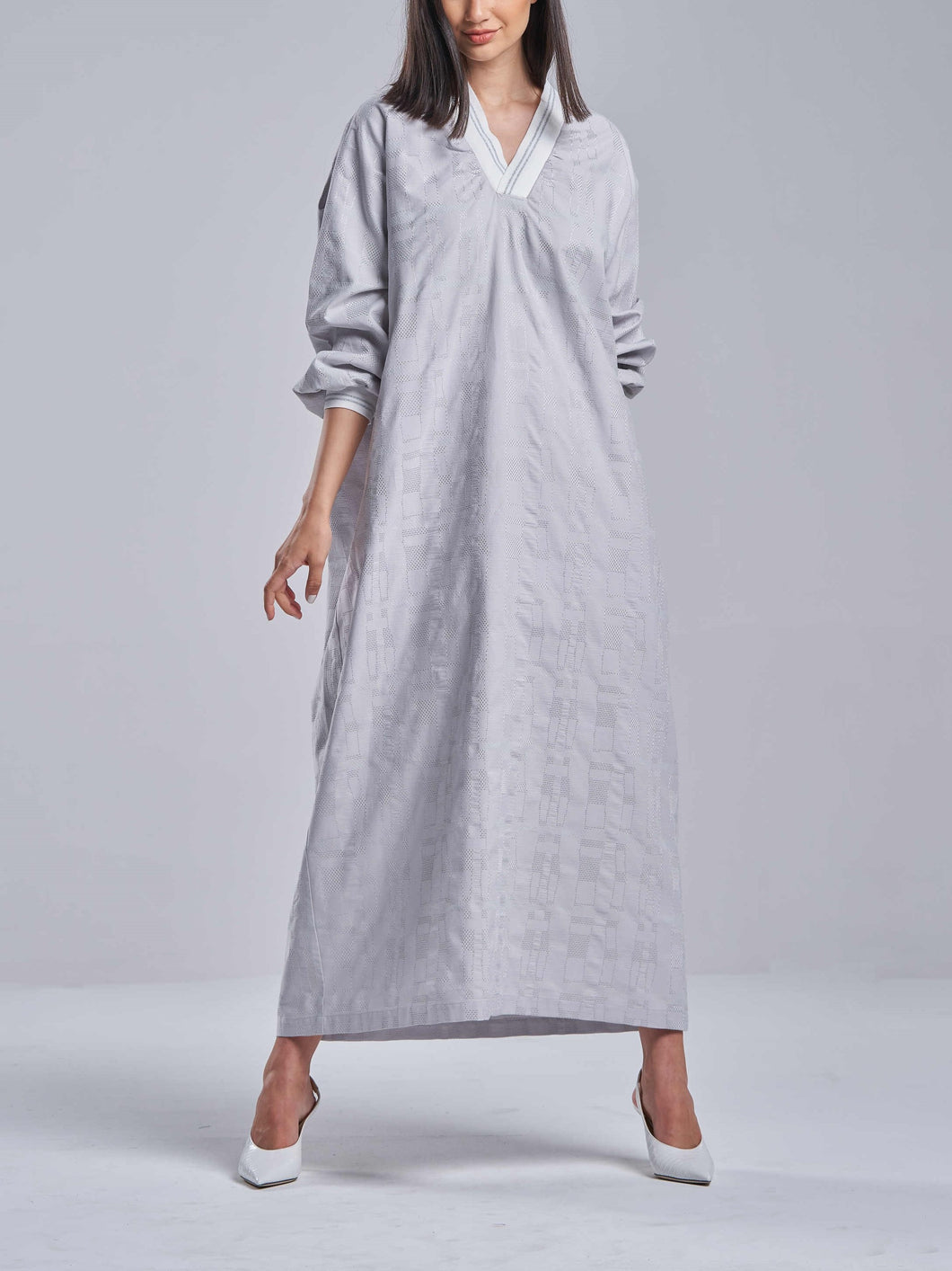 Soft Grey Embroidered Ribbed V-Neck Dress