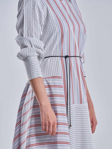 Red, Grey and White Striped Asymmetric Flowy Dress