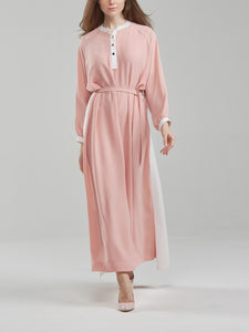 Two Tone Salmon Pink Textured Shirt dress