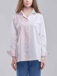 Two Toned Oversized Pink and White Shirt