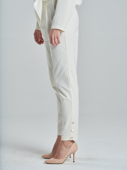 Gold Button Stretch Slim Trousers in Off-White