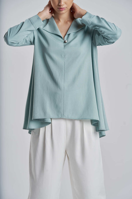 Flowy Silky Teal Top with Gold Button