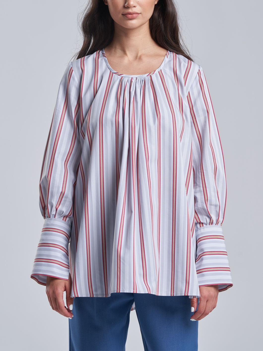 Red and Grey Striped Shirt