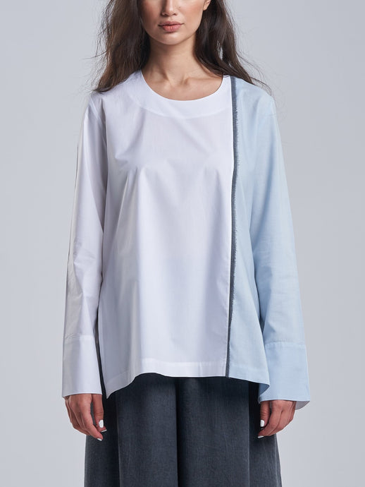 Two-Toned White & Blue Top with a Grey Touch