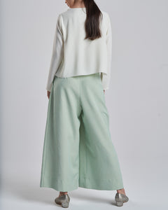 Pastel Green Trousers with Gold Zipper