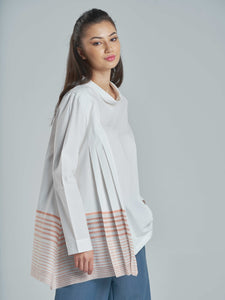 Pleated Cotton Top with Coral Stripes