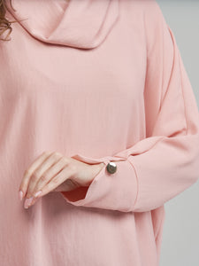 Salmon Pink Cowl Top with Gold Buttons