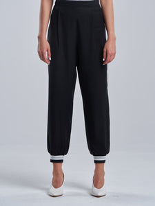 Silky Black Trousers with a Touch of Silver