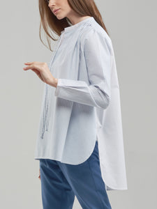 Oversized Sky Blue Shirt with Pink Contrast