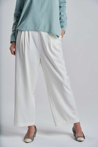 Soft Relaxed White Trousers
