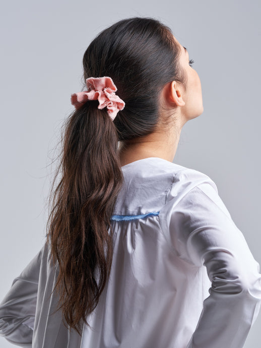 'Every Little Counts' Raw Edged Pink Scrunchie